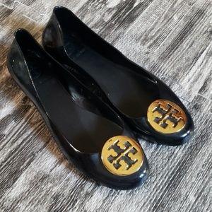 Tory Burch Black Gummy Rubber Reva Ballet Flats 10